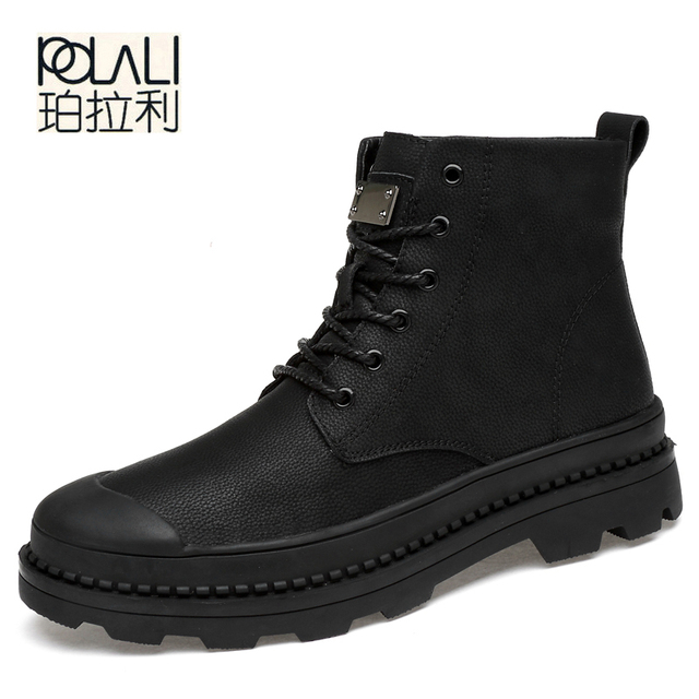 POLALI Male Boots Large Winter Shoes Big Size13 for Men  Rubber Pu with Fur Casual TACTICAL Boot Mens Winter Footwear Bot Work 1