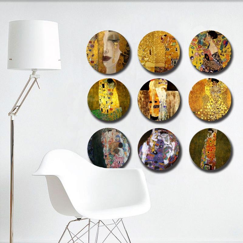 Klimt Painting Hanging Plate Wall Decorative Dish Ceramic Craft Desk Display European Decor Round Plate Gustav Klimt Kiss Item