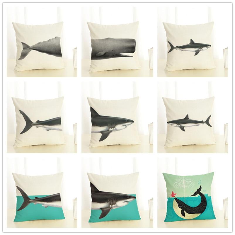 Акула Стиль Лен Наволочки животного Цветок Луны Чехлы для подушек для диван домой декоративный Пледы Подушки Детские Чехол 45x45 см