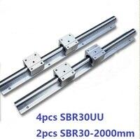 2 шт. SBR30 L 2000 мм линейный руководство поддержка rail + 4 шт. SBR30UU линейный подшипник блоки ЧПУ части линейный рельс