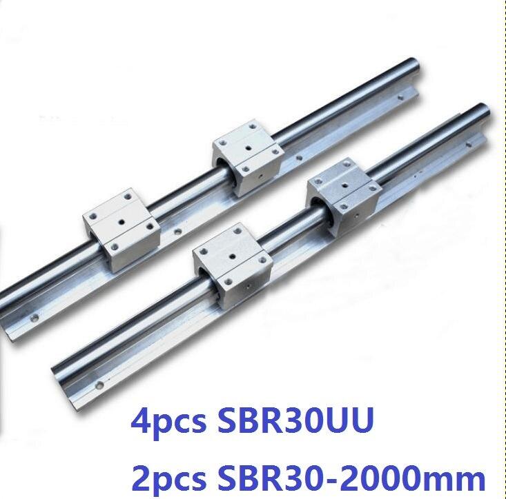 2pcs SBR30 -L 2000mm linear guide support rail + 4pcs SBR30UU linear bearing blocks CNC router parts linear rail