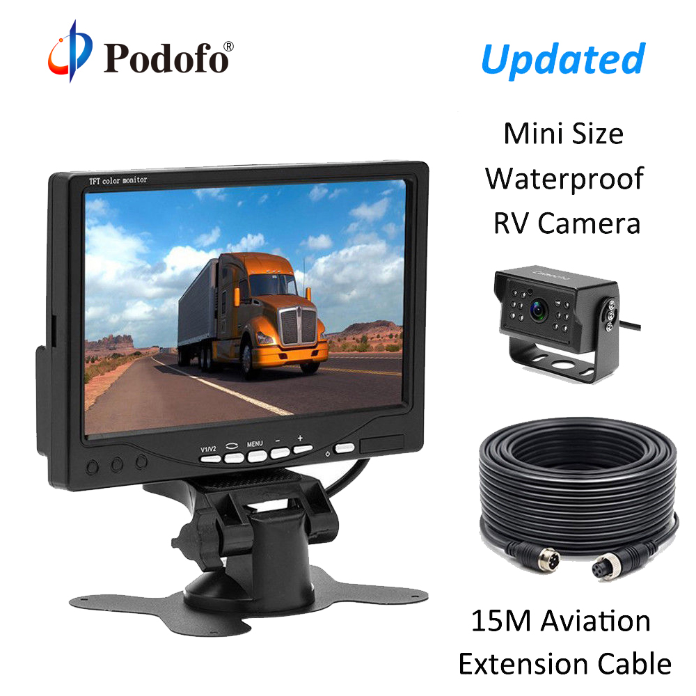 Podofo 7 HD Car Monitor 4 Pins 12 IR Night Vision Backup Rear View Camera for Truck RV Caravan Trailers Bus Houseboat Campers wireless dual backup cameras parking assistance night vision waterproof rear view camera 7 monitor for rv truck trailer bus