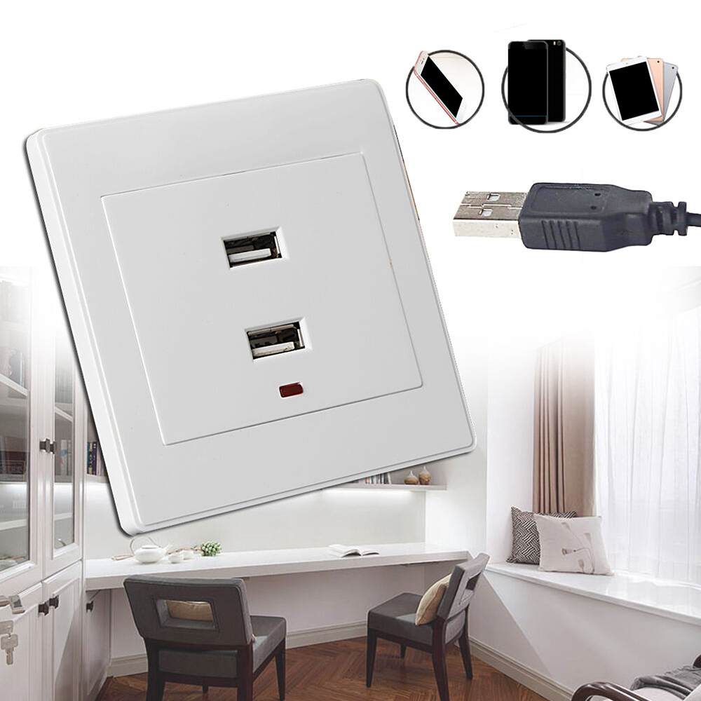 Newest 1pcs Dual USB Wall Socket Charger AC/DC Power Adapter Plug Outlet Plate Panel 220V To 5V White Safe Electrical Sockets