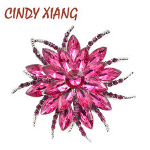 Cindy Xiang Warna Ungu Crystal Bunga Bros untuk Wanita Seng Paduan Bros Pin Fashion Perhiasan Gaun Mantel Bros Perhiasan(China)