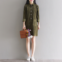 New Literature Pure Color Long Sleeved Corduroy Dresses