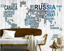beibehang Individuality Silk Wall paper Wood Alphabet letters World map Modern minimalistic background papel de parede wallpaper