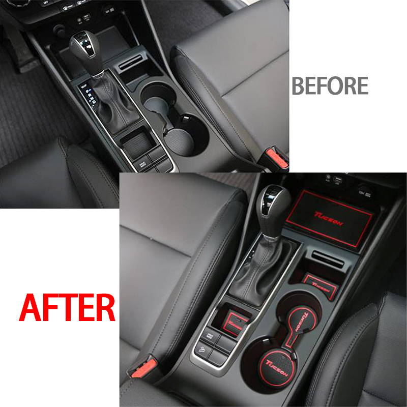 car Auto Anti Slip Dacorative Cup Sticker Gate Slot Pad Door Groove Mat For Hyundai Tucson TL 2015 2016 2017 2018 in Interior Mouldings from Automobiles Motorcycles