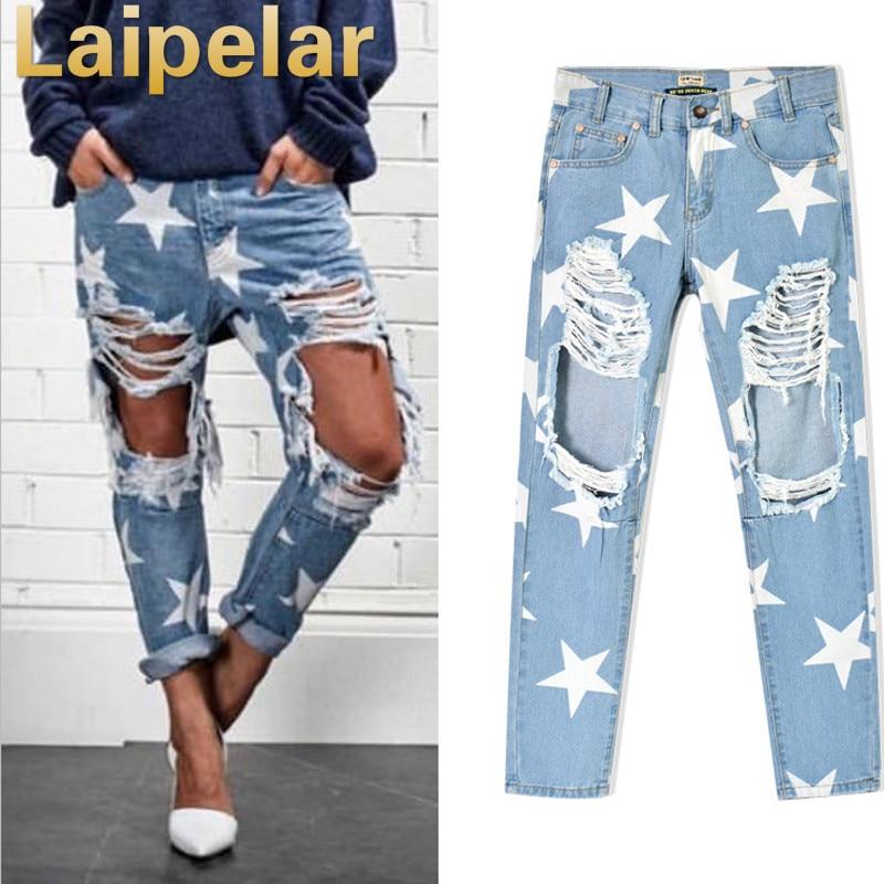 Laipelar 2018 Women Print Five-pointed Star Vintage Boyfriend Holes Ripped Jeans Denim Trousers Female Denim Lady Pants