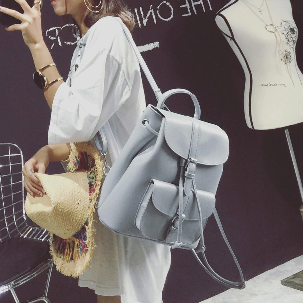 LEFTSIDE Women's Drawstring PU Leather Backpack School bags Teenage Girls Backpacks for Women High quality ladies Bagpack