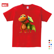 купить BOYS Clothing Summer Children Boys Cartoon Dinosaur Letter Print 100% Cotton T-shirt Tops Shirts Tee Summer Boy Clothes по цене 425.96 рублей