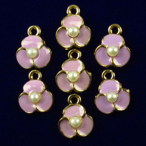 10pcs New Carved pink Drip Oil&Tibet gold flowers Pendant bead Trendy Jewelry Women Accessories