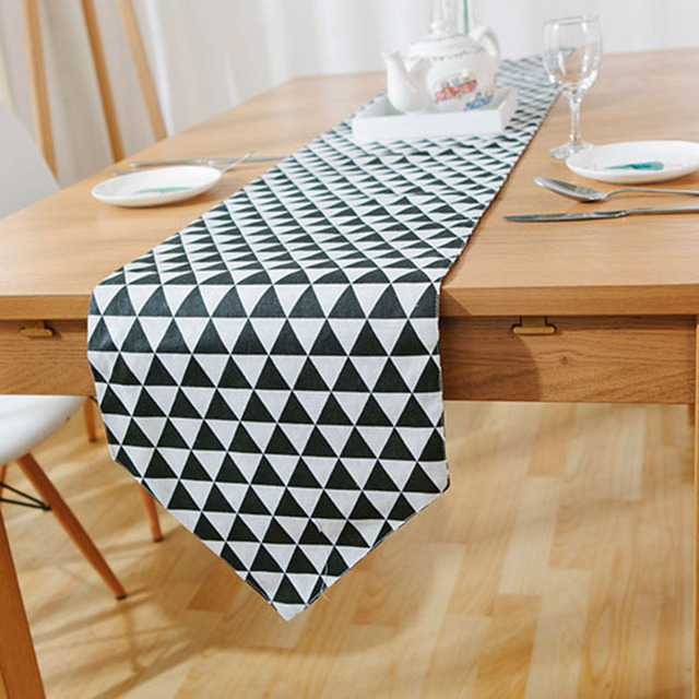 Black White Checkered Table Runner European American Table Runners  Geometric Thick Canvas Table Cloth Runner Home