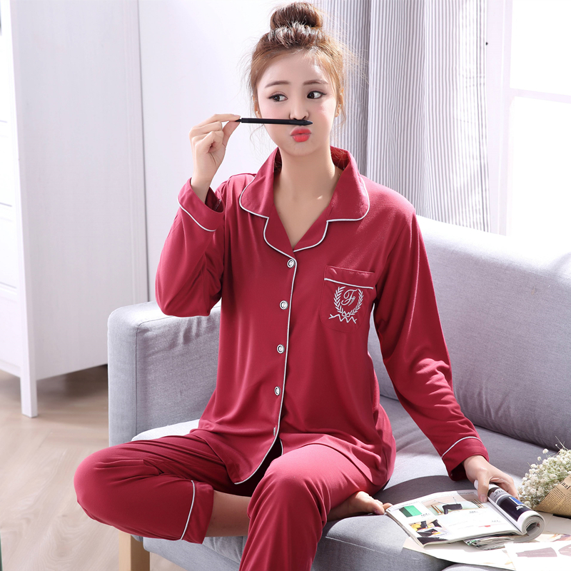 2019 Spring Autumn Cotton Pajama Sets for Women Long Sleeve Sleepwear Cardigan Pyjama Lounge Homewear Home Clothing Pijama Mujer