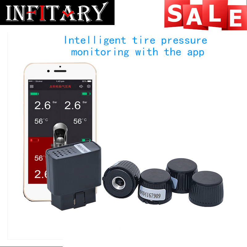 wireless TPMS Mobile Phone APP Bluetooth control Display Tire Pressure Monitor Systems 4 Internal/external Sensors OBD Interface
