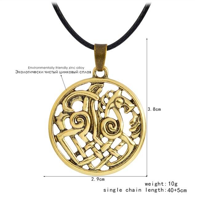 Hollow Nordic Odin Sleipnir Kolovrat Pendant Necklaces Viking chain Vintage Antique silver bronze Men Jewelry Gift for Friend 1