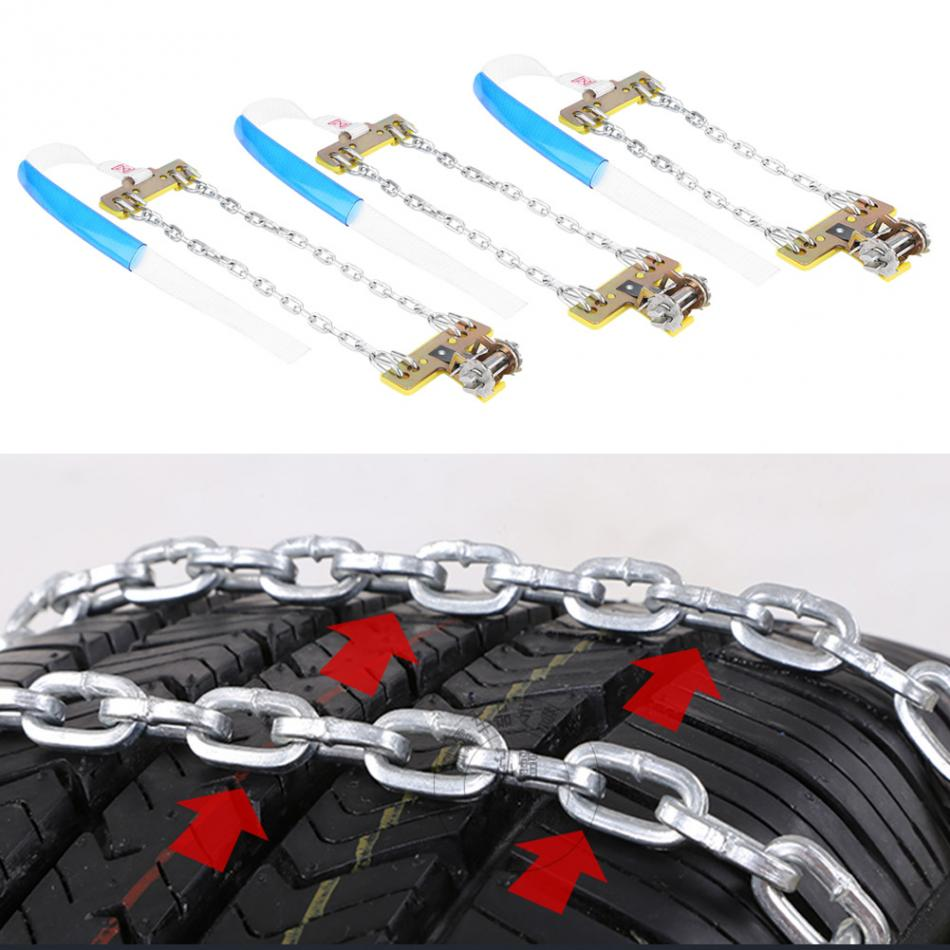 3pcs Tire Anti skid Steel Chain Snow Mud Car Security Tyre Clip on Chain for Car Car Truck SUV Universal Tire Accessories New
