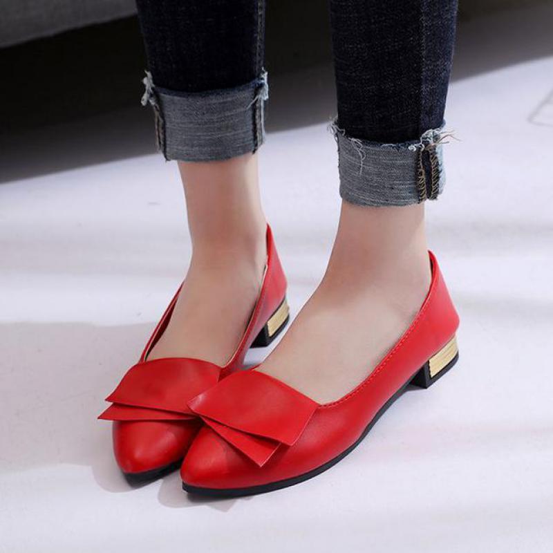 2018 Neue Mode Vier Jahreszeiten Frau Flache Schuhe Bogen Design Spitz Einfarbig Flache Schuhe Vintage Frauen Wohnungen Mädchen Loafer
