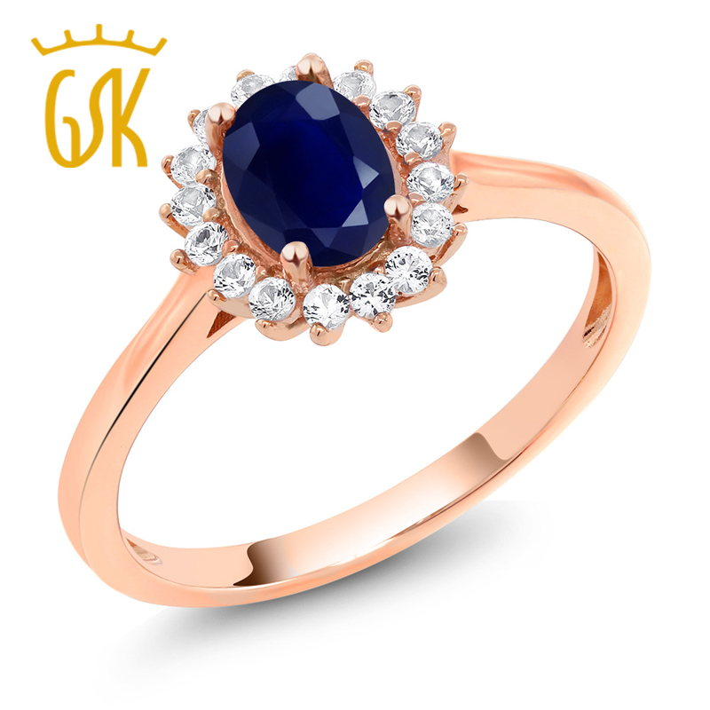 10K Rose Gold 1.26 Ct Oval Blue Sapphire White Created Sapphire Women's Ring (Available 5,6,7,8,9)