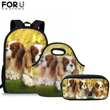 FORUDESIGNS 3PCS/Set Schoolbags For Boys Girls Spaniel Dog Primary Student School Backpacks Children Bookbag for Kids Mochila