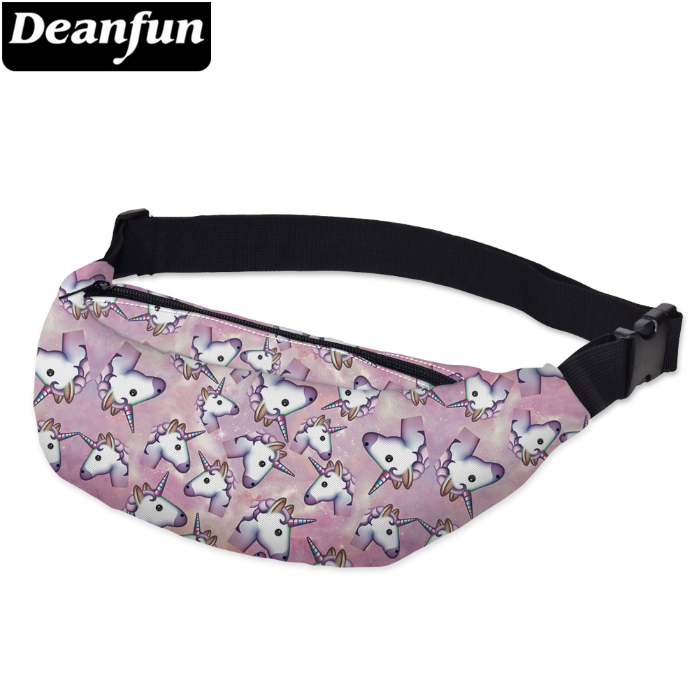 Deanfun 3D Printing Unicorn Waist Bags Cute Fanny Pack With Adjustable Band For Women  YB31 #