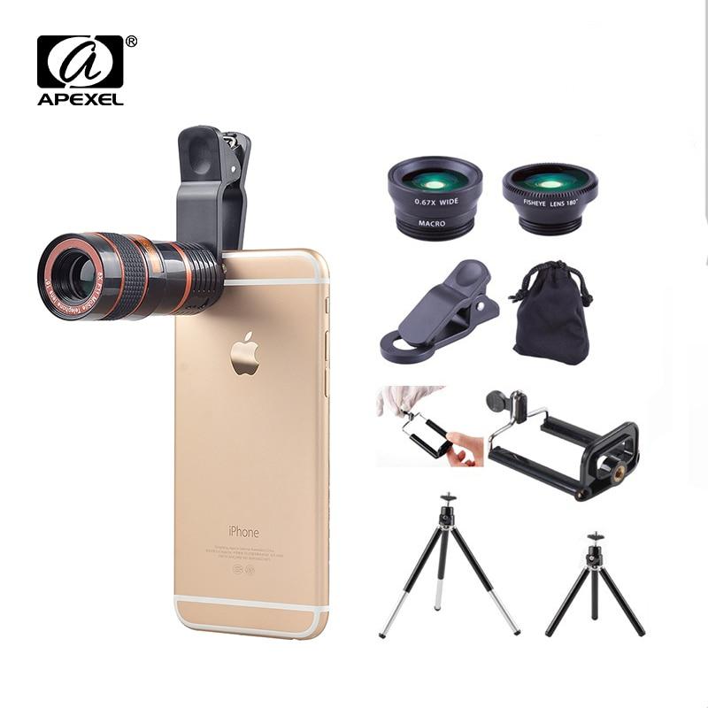 imágenes para Apexel 6in1 de ancho + macro + fisheye de 180 grados + 8x kit de lente de zoom para iphone samsung huawei htc huawei teléfonos apl-19b6in1