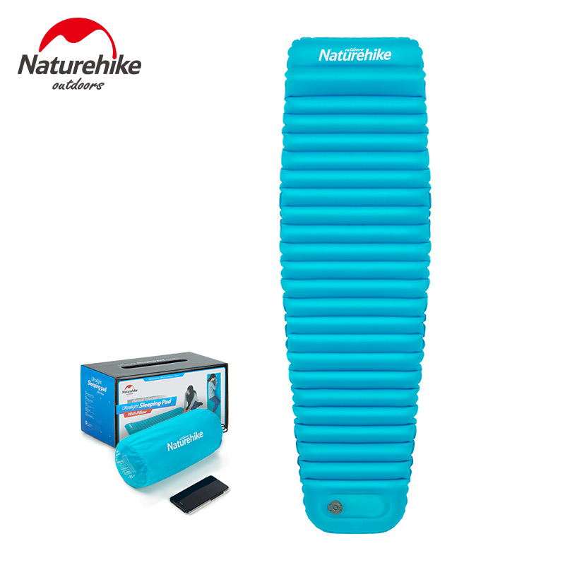 Naturehike Inflatable Camping Air Mattress With Pillow Picnic Mat Nylon Outdoor Tent Sleeping Pad Camping Beach Mat NH18Q002-D naturehike inflatable mattress with pillow beach mat double inflatable cushion outdoor tent camping mat air bed sleeping pad