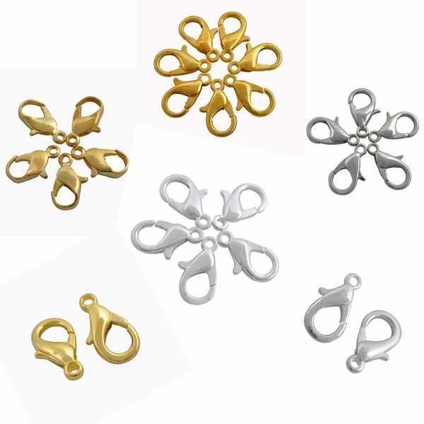 Sprzedaż 12/16/20MM złoty i srebrny kolorowy ze stopu Lobster zatrzaski haki na naszyjnik i bransoletka łańcuch biżuteria ustalenia DIY łączniki metalowe