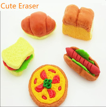 Decoration Eraser Rubber Hamburger Pizza Rubber Style Erasers Material Escolar Utiles Escolares mini food erasers