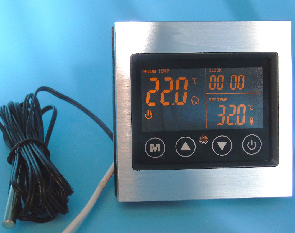 16A Aluminum alloy material Built-in and external sensors inteligent  thermostat with Floor Heating