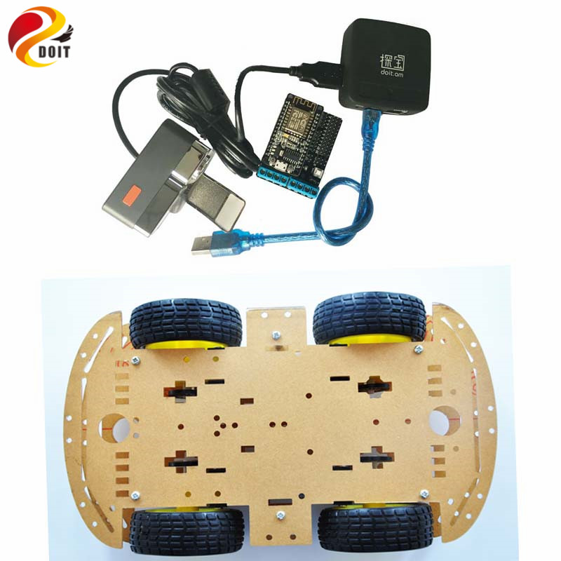 DOIT moniteur vidéo Robot châssis de voiture intelligent par Openwrt routeur contrôle sans fil avec carte Nodemcu Lua V3 + bouclier moteur Nodemcu bricolage