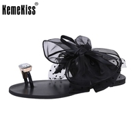 Ladies Flats Sandals Bowtie Flip Flop Slipper Solid Color Flat Sandal Summer Shoe Women Party Beach