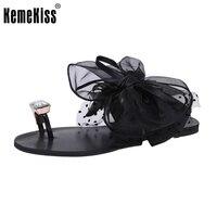 Ladies Flats Sandals Bowtie Flip Flop Slipper Solid Color Flat Sandal Summer Shoe Women Party Beach