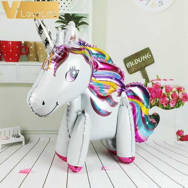 Ballons de licorne 3D arc-en-ciel, ballons faciles à assembler, décorations de fête danniversaire de fête de licorne