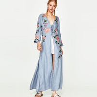 Kimono Cardigan Casual Womens Tops And Blouses Kimono Cardigan Floral Summer Long V neck Lace Floral Embroidery Denim Cowboy