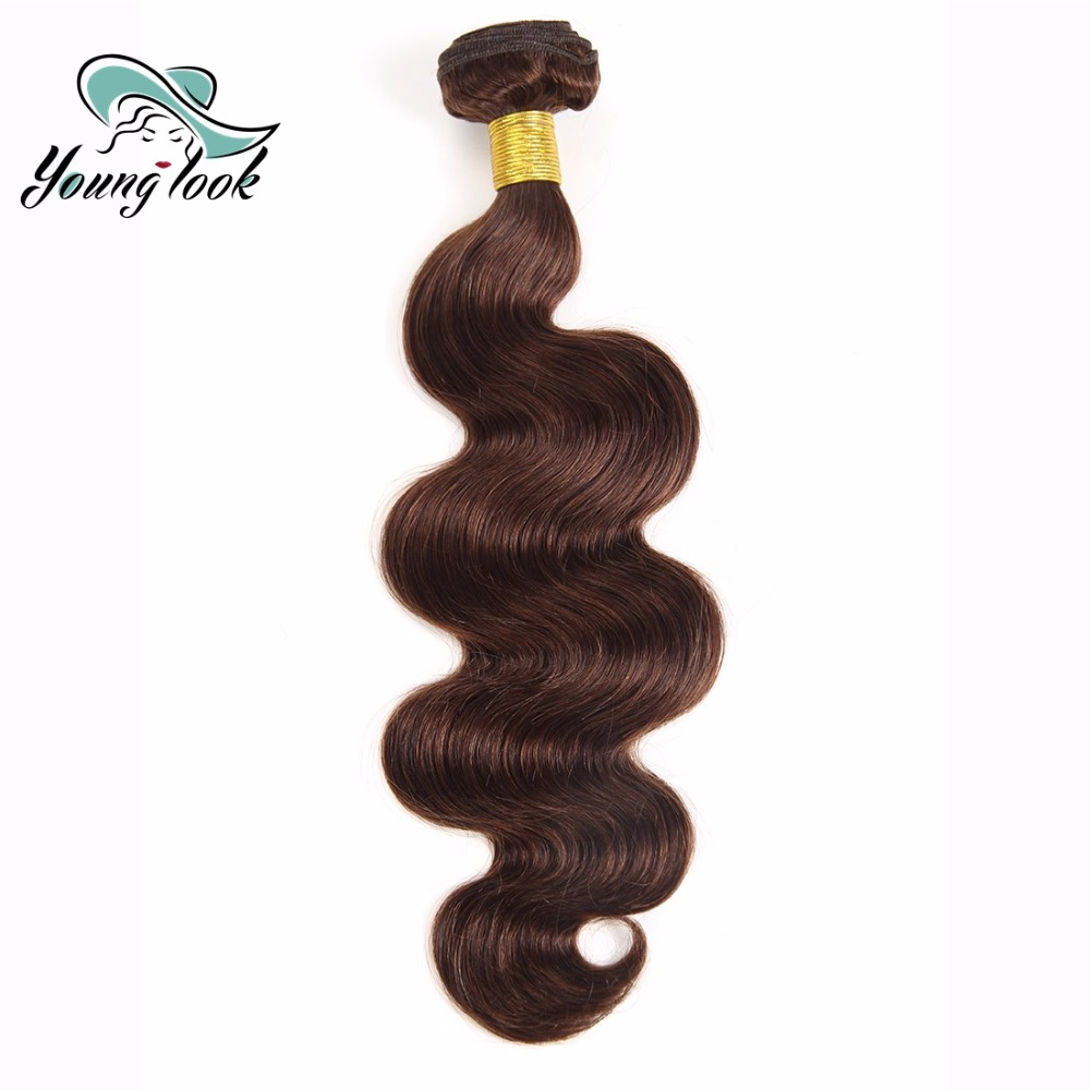 Young Look Hair Peruvian Bundles Hair Pre-colored Bundle Body Wave Human Hair Weave Bundles #4 One Piece 8-26 INCH