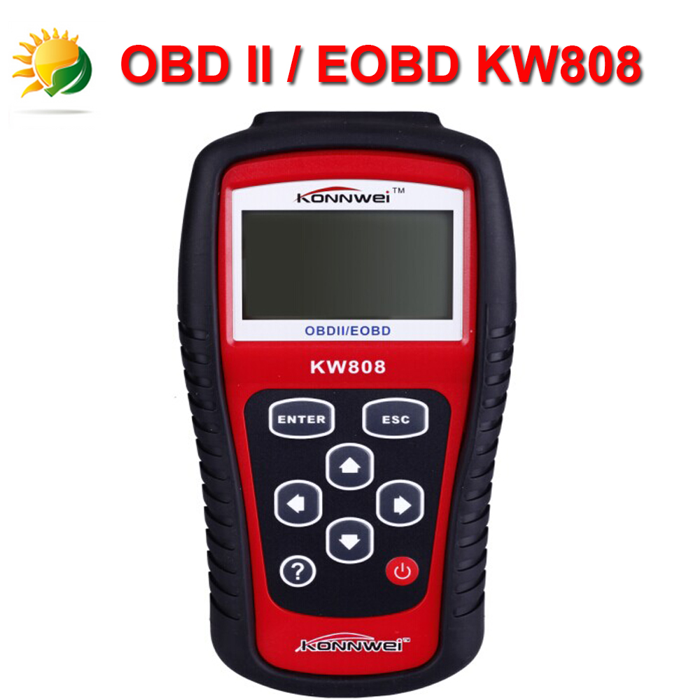 2015 Hot Sale KONNWEI KW808 OBDII / EOBD Auto Code Reader work for US/Asian/European Vehicles Free Shipping