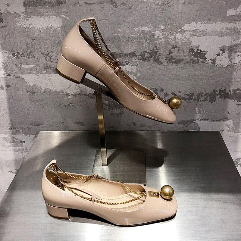 Élégant Femmes Verni Chaîne Ballet Chaussures Métal Talons En Robe Noir Pompes Dames Chunky Cuir Designer nu Boules Rétro D'été 8gYnfxYZq
