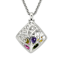 Wholesale White Gold Color Cage Family Tree Necklace Custom Birthstone Necklace Mother's Jewelry