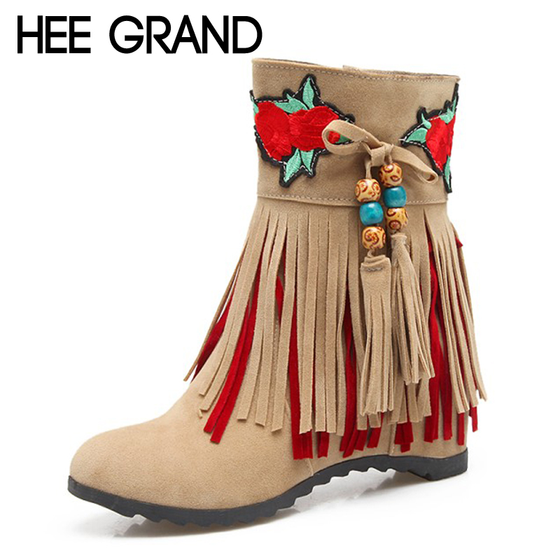 HEE GRAND 2017 Embroider Women Ankle Boots Solid Fringe High Heels Boots Ladies Fashion Gladiator Tassel Shoes Woman XWX6400 цены онлайн