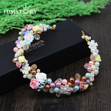 Colorful Gold Plated Women Hairband Ceramic Flower  Pearl Headband Crytal  Hair Jewelry Bride Wedding Hair Accessories stylish gold plated filigree pumpkin car hairband for women