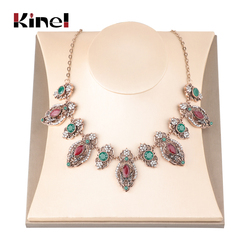 Kinel Fashion Exaggerated Antique Necklace For Women Indian Jewelry Gold Color Red Crystal Vintage Wedding Jewelry 2019 New