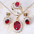 Absorbing Cubic Zircon Gold Plated Earrings Ring Necklace Pendant Sets T038