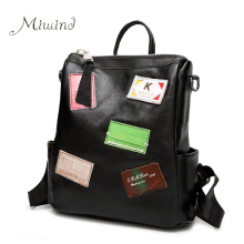 women backpak for Teenagers Girls laptop waterproof female fashion Letter black high quality ladies Genuine Leather