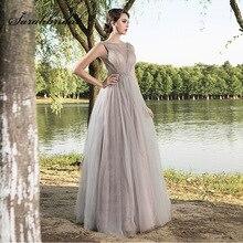 Новое поступление, платья знаменитостей из тюля, элегантное женское бальное платье, официальное вечернее платье, серое платье с бисером по индивидуальному заказу L5515