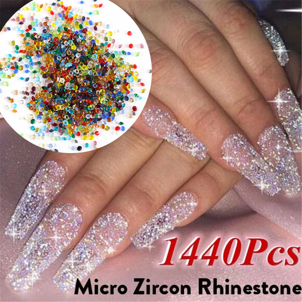 1440pcs/bag 1.1mm Zircon Micro Rhinestones Conical Rhinestone Mini Nail Art Rhinestone Nail Art Decorations Loose Rhinestones