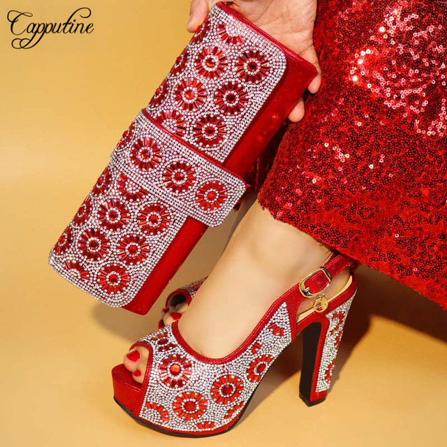 Capputine New 2019 African Design Black Shoes And matching Bags Italian Style High Heels Shoes And Bag Set For New Year Party
