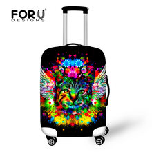 Cool Graffiti Animal Cat Print Protective Case Luggage Cover for Travel 18-30Inch Suitcase Elastic Dust Rain Luggage Accessories(China)