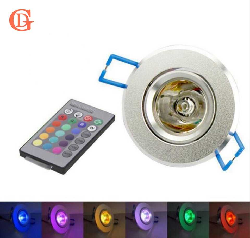 GD3W RGB LED Spot Downlight 85-265 V RGB LED Downlights ampoule + IR télécommande 16 couleurs en aluminium encastré RGB Downlight