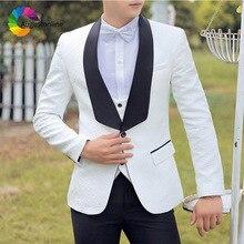 Vintage White Printed Men Suits Black Shawl Lapel Wedding for Man Blazer Costume Homme 3Piece Pants Vest Groom Tuxedo