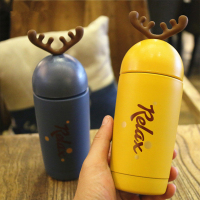 Cartoon Christmas Antlers Cute Vacuum Flasks Thermos Stainless Steel Drinkware Vacuum Thermos Bottle Portable Water Bottles